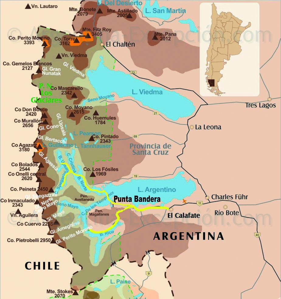 Cartina Los Glaciares: Perito Moreno, Upsala, Spegazzini