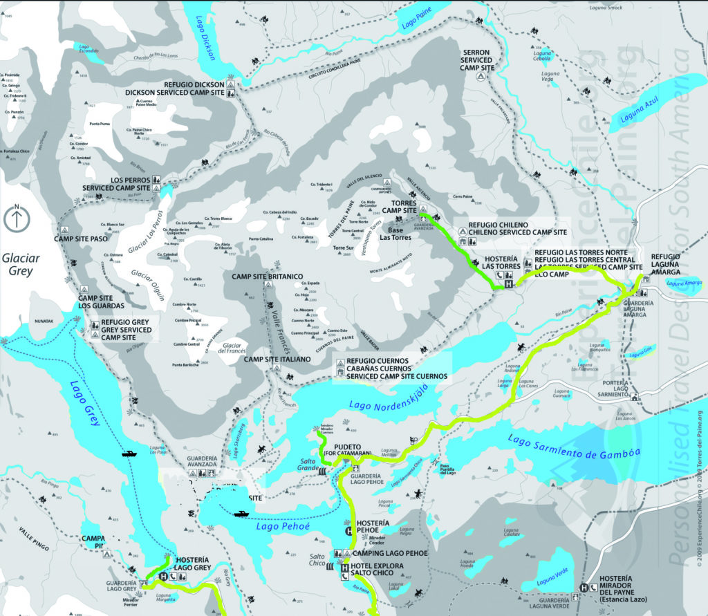 Cartina Torri del Paine