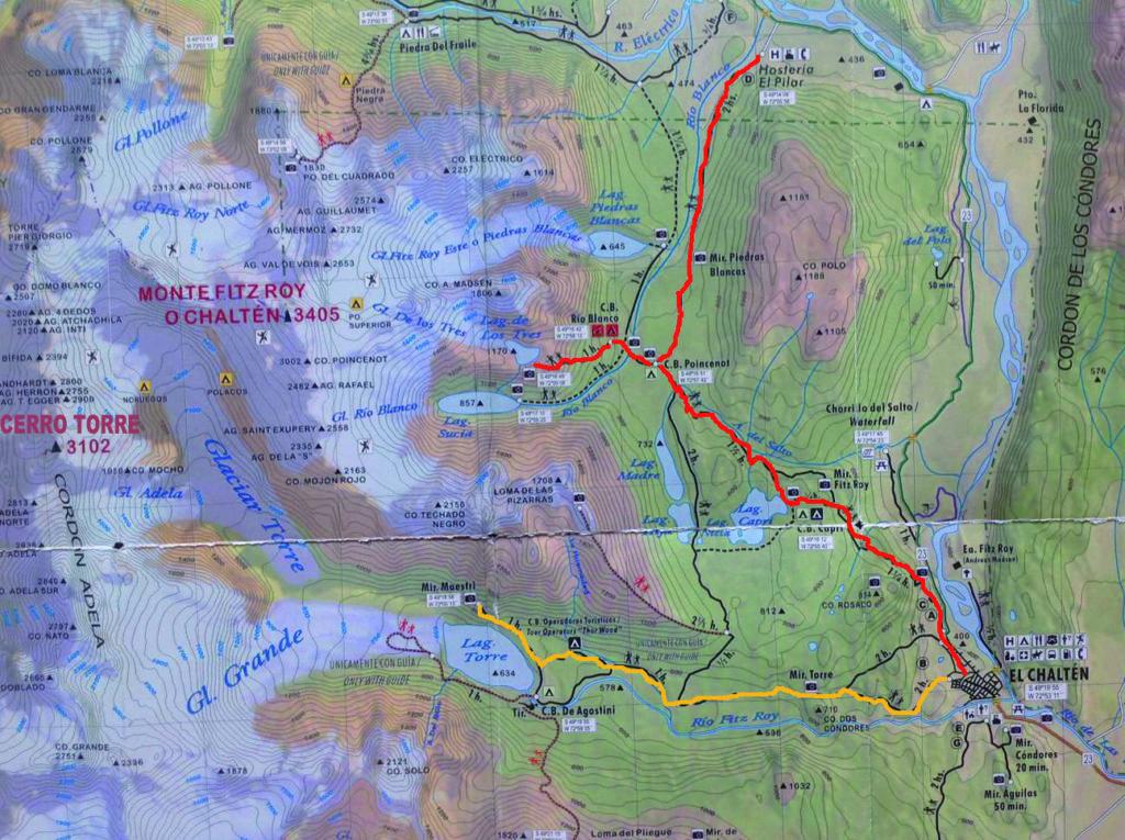 cartina trek Cerro Torre e Fitz Roy