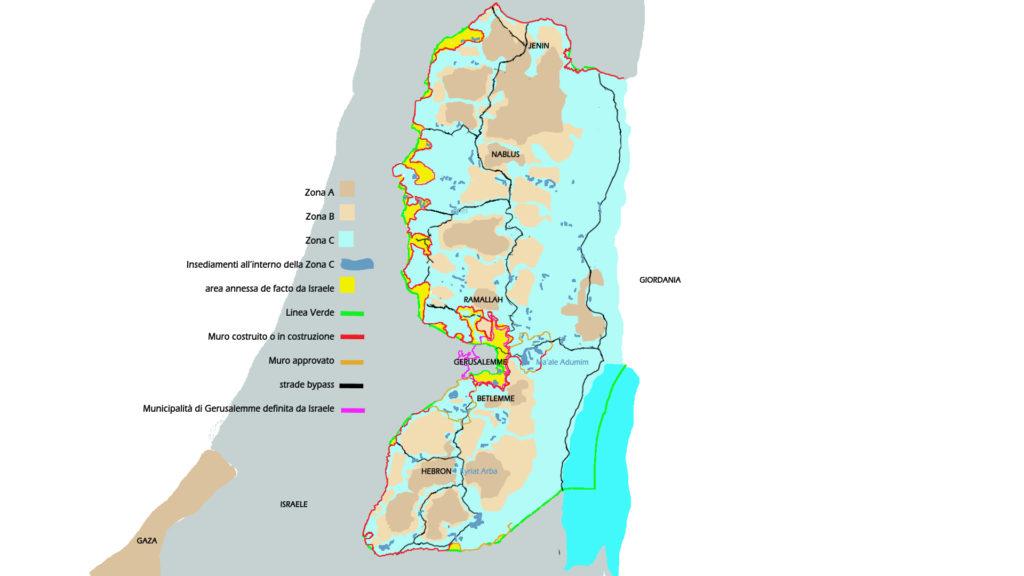 Palestina cartina Cisgiordania