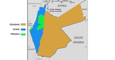Cartina Giordania Israele Palestina